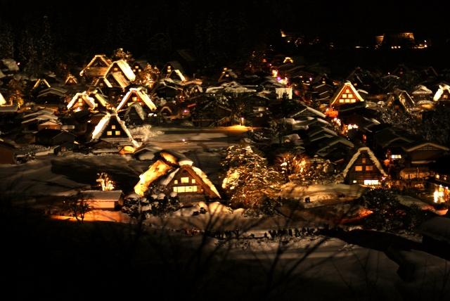 展望台からの白川郷の夜景