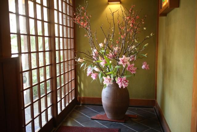 玄関にある生花