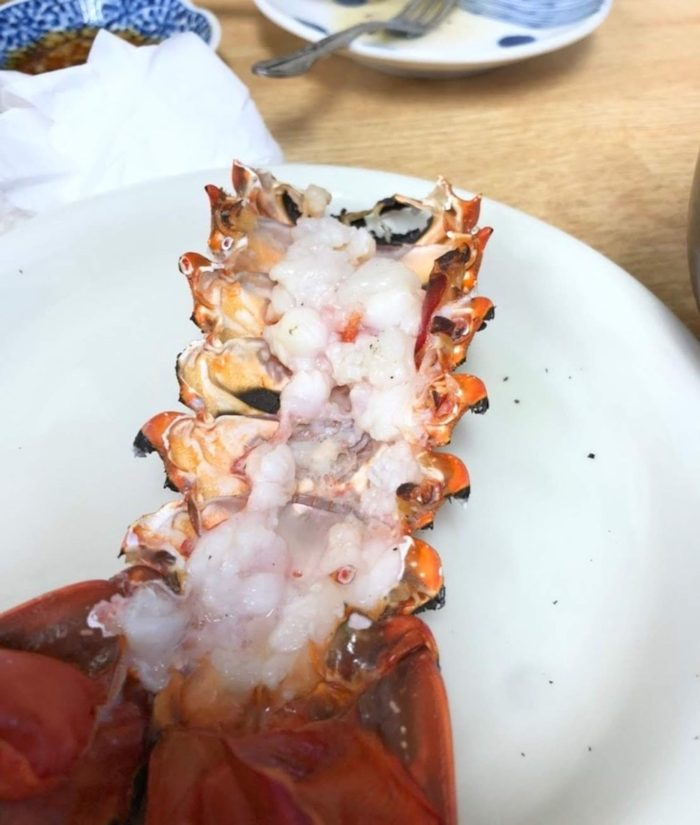 焼いた伊勢海老の尻尾